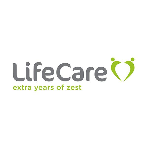 "Lifecare logo, subheading reads ""extra years of zest"""
