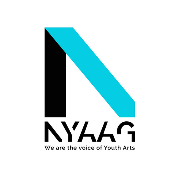 "NYAAG logo, the National Youth Arts Advisory Group, subheading reads ""We are the voice of youth arts"""